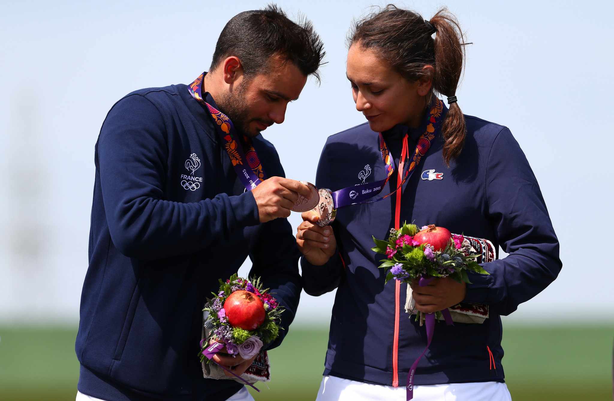 Anthony Terras and Lucie Anastassiou celebrating a medal at the 2015 European Games in Baku ©Getty Images