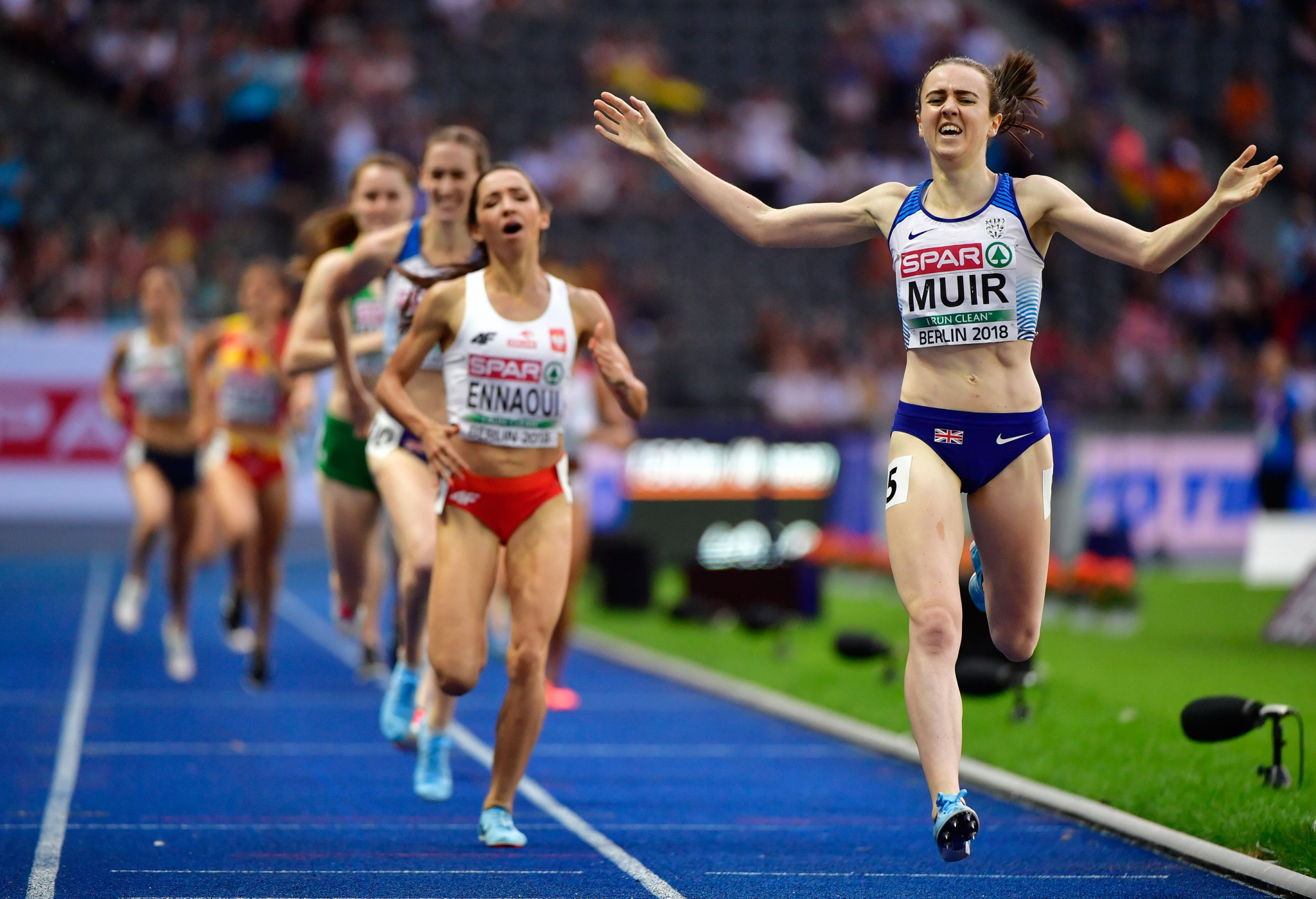 Great Britain's Laura Muir was among the winners on the final night of athletics in Berlin, crossing the line first in the women's 1,500m final ©Getty Images