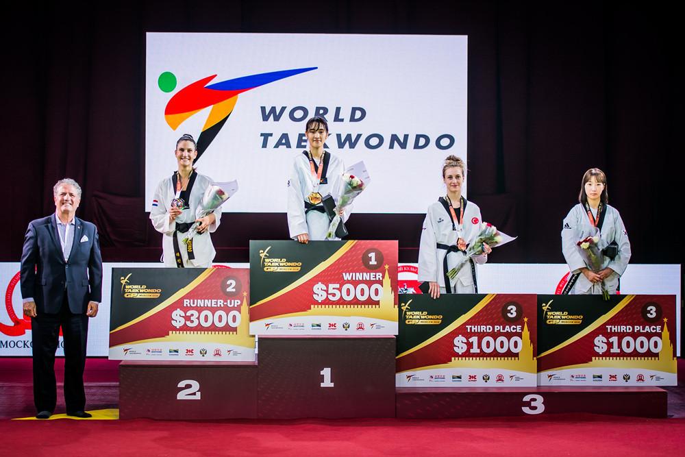So-hui Kim, third left, claimed gold today ©World Taekwondo