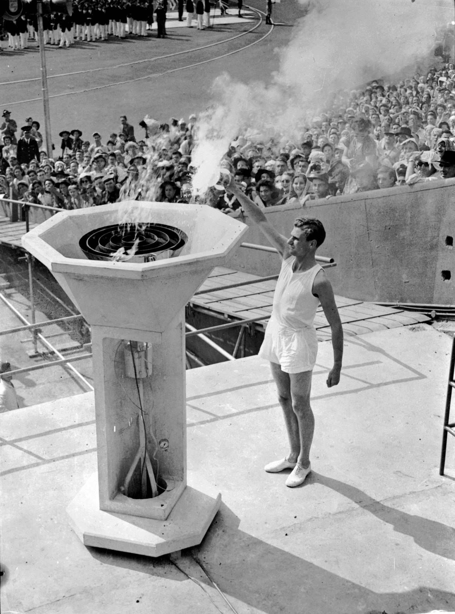 The Olympic Torch is lit at the London 1948 Games ©Getty Images