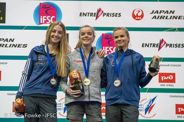 Hannah Slaney qualified second in the women's junior event, having won gold in the bouldering on Saturday ©IFSC