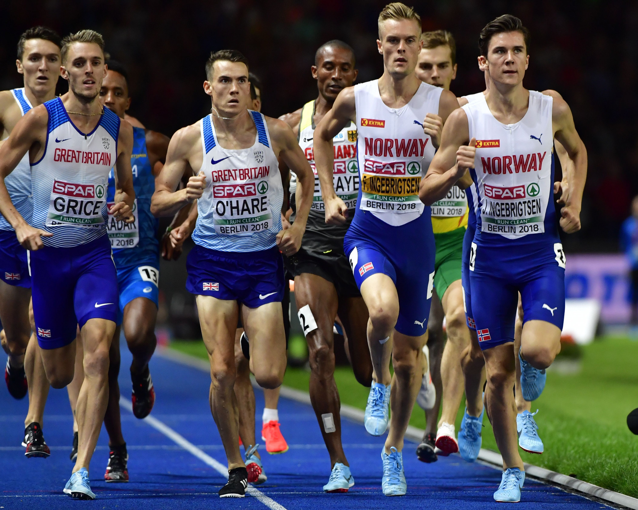 Norwegian broadcaster NRK achieved an 80 per cent market share for the conclusion of the European Athletics Championships men's 1,500m in Berlin, won by 17-year-old Jakob Ingegebrigtsen, right ©Getty Images