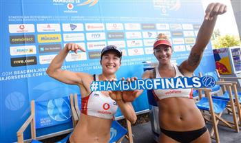 Barbora Hermannova and Market Slukova of the Czech Republic are heading their group at the FIVB Beach Volleyball World Finals in Hamburg ©FIVB