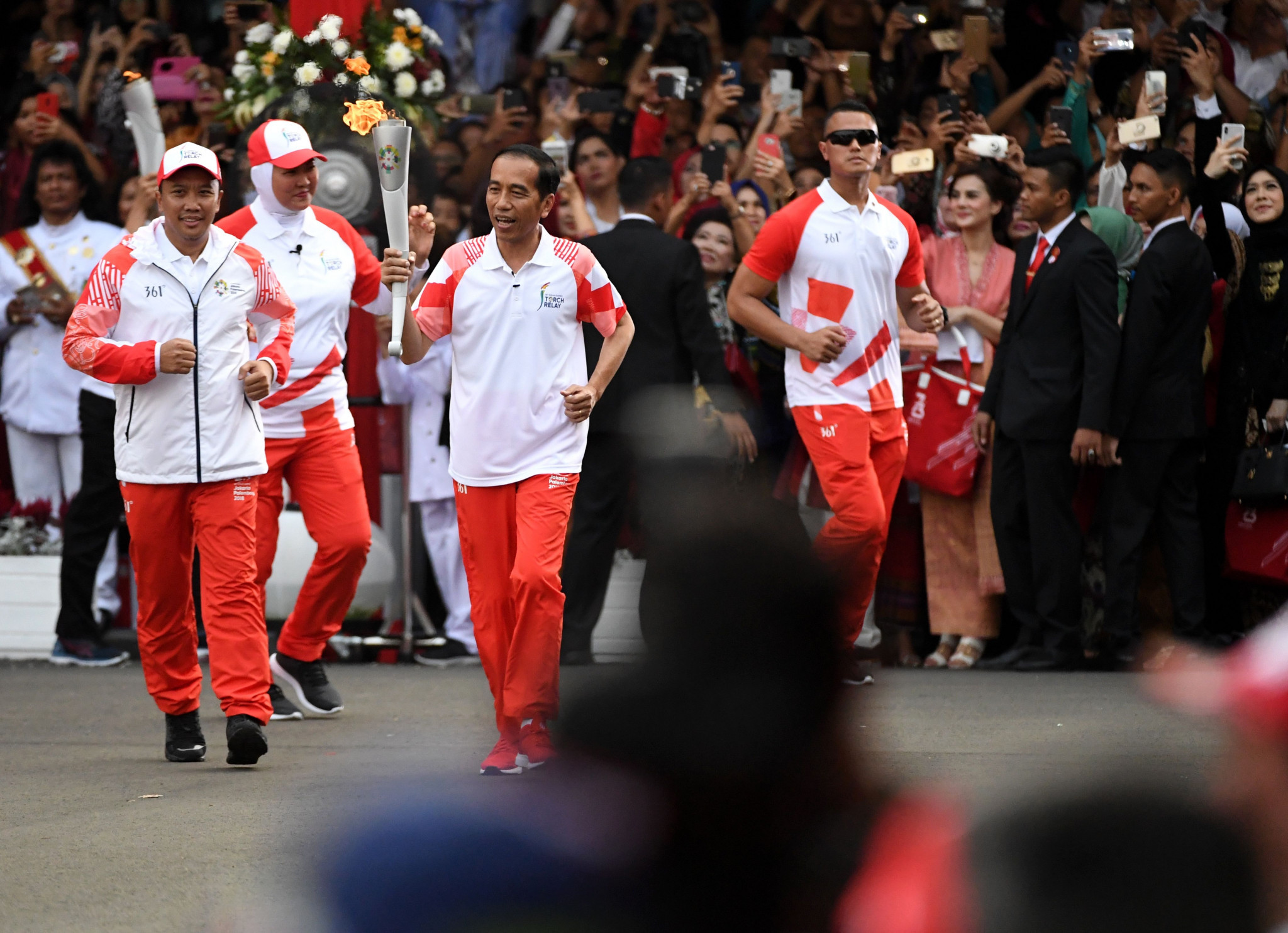 Indonesia President Joko Widodo took part in the Torch Relay for the 2018 Asian Games today as it continued its journey through co-host city Jakarta ©Getty Images