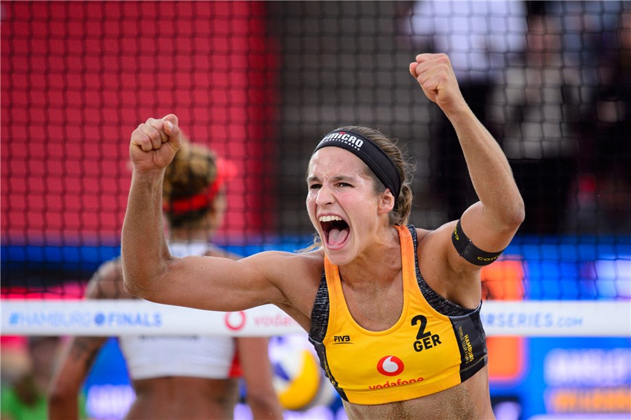 Germany's top seeds Chantel Labourer and Julia Sude revived their chances in the women's event ©FIVB