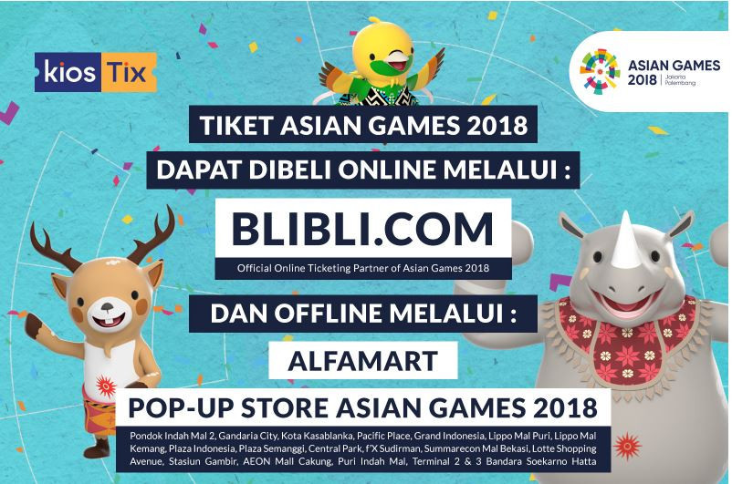 KiosTix has enlisted the help of Blibli.com to try and sell tickets for the Asian Games ©KiosTix