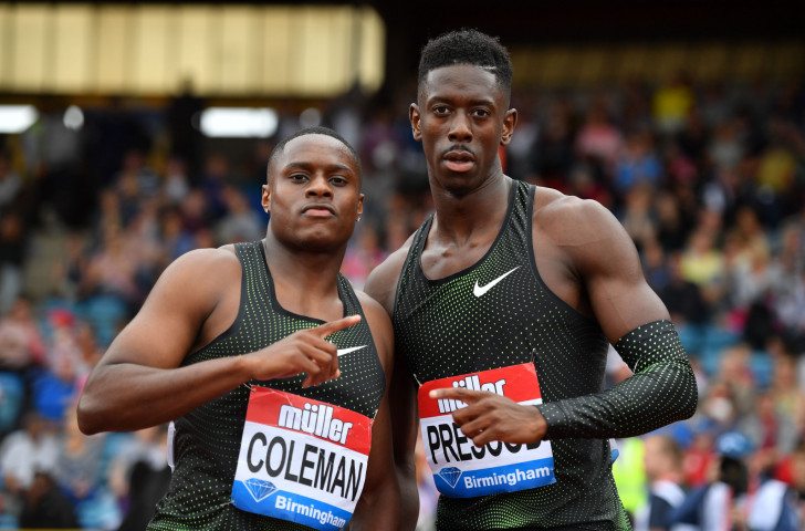 World indoor champion Christian Coleman of the United States, left, won the 100m at the IAAF Diamond League meeting in Birmingham in 9.94sec, with Britain's Reece Prescod, right, second in the same time ©Getty Images