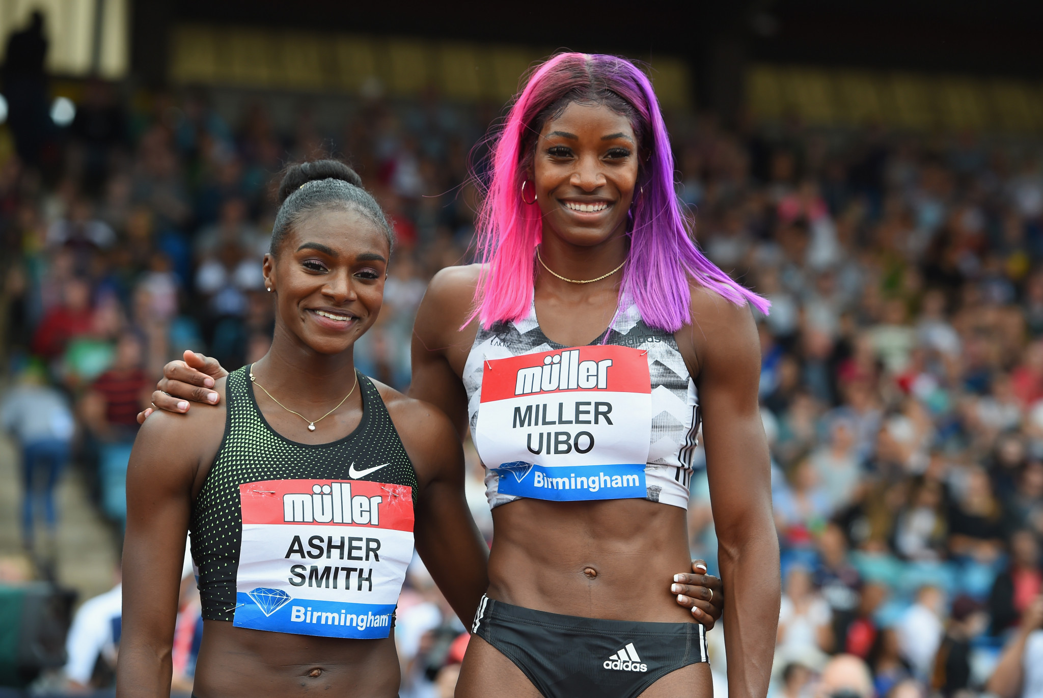 Dina Asher-Smith, left, was beaten in the 200m by Shaunae Miller-Uibo in the Birmingham IAAF Diamond League meeting  ©Getty Images