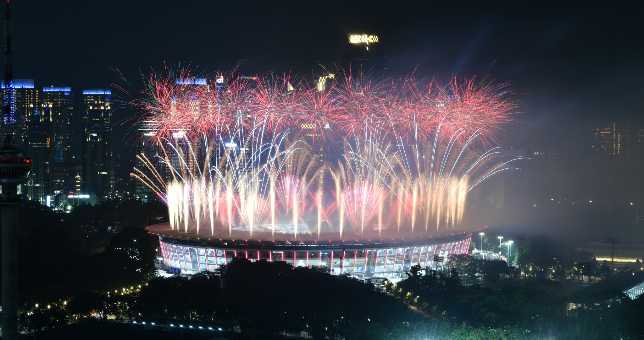 The Ceremony concluded with a spectacular fireworks display, which lit up the Jakarta sky ©Getty Images