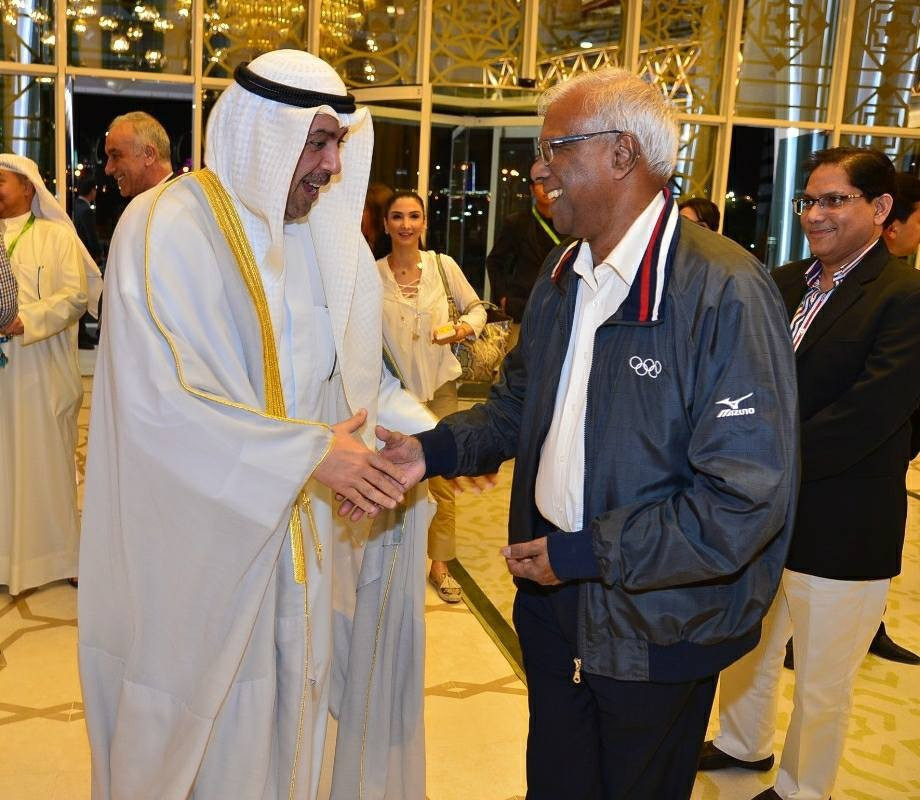 OCA Medical Standing Committee chair Dr Mani Jegathesan, pictured here with OCA President Sheikh Ahmad Al-Fahad Al-Sabah, has revealed that 10 positive doping cases resulted from the 2017 Asian Indoor and Martial Arts Games in Ashgabat ©OCA