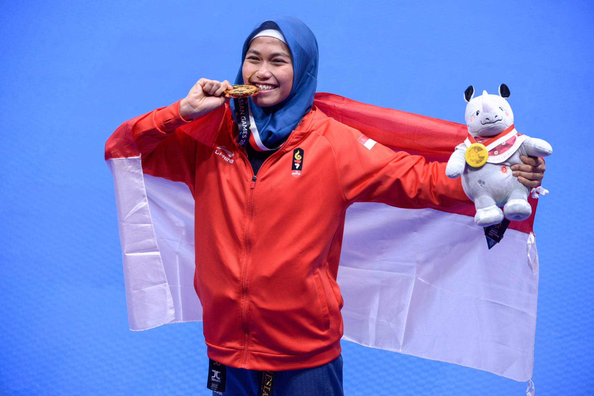 Indonesia's Defia Rosmaniar won her country's first gold of the Asian Games today, in the women's individual poomsae taekwondo final ©Getty Images