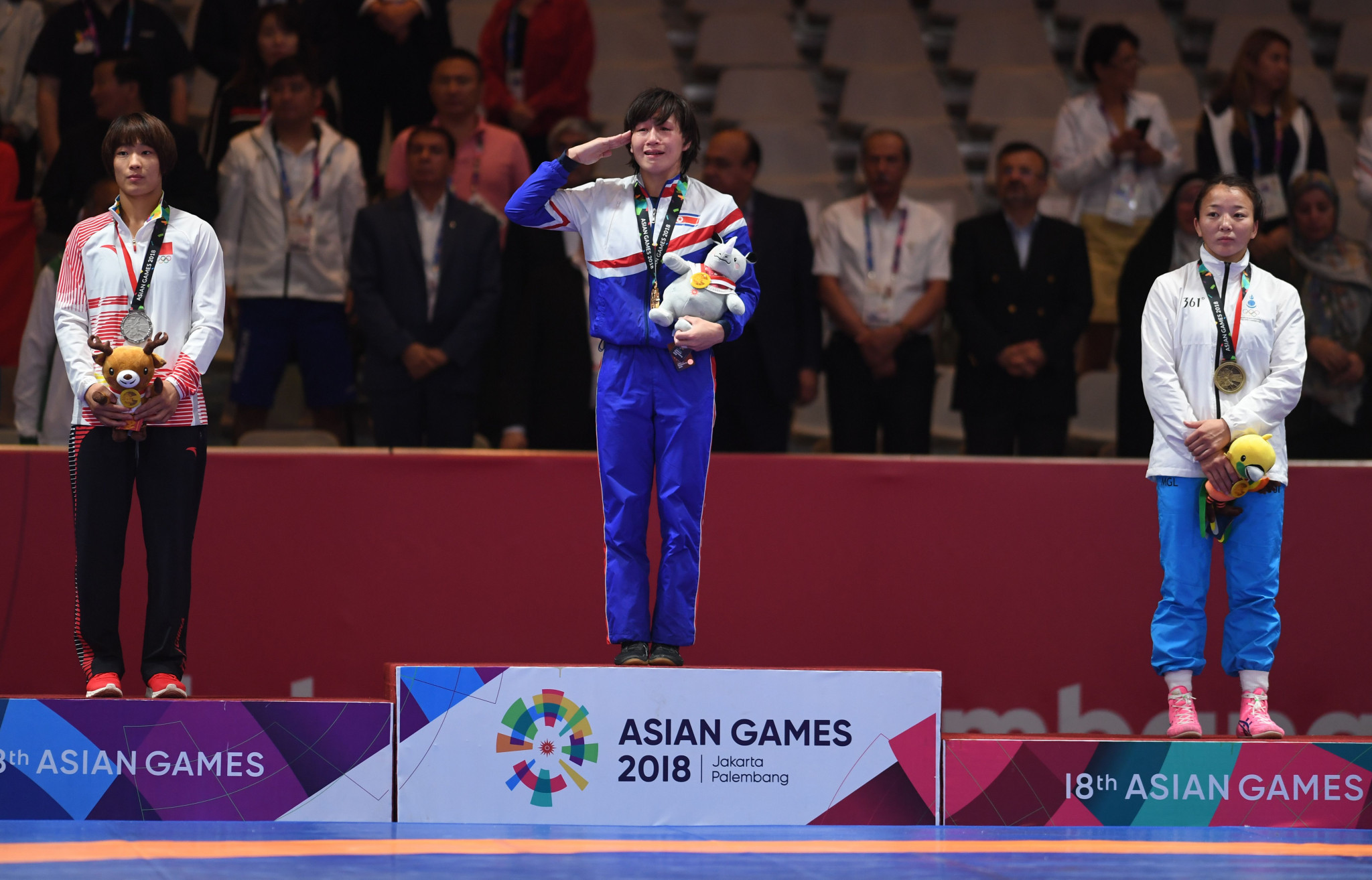 Fellow countrywoman Jong Myong Suk tasted victory in the 57kg event ©Getty Images