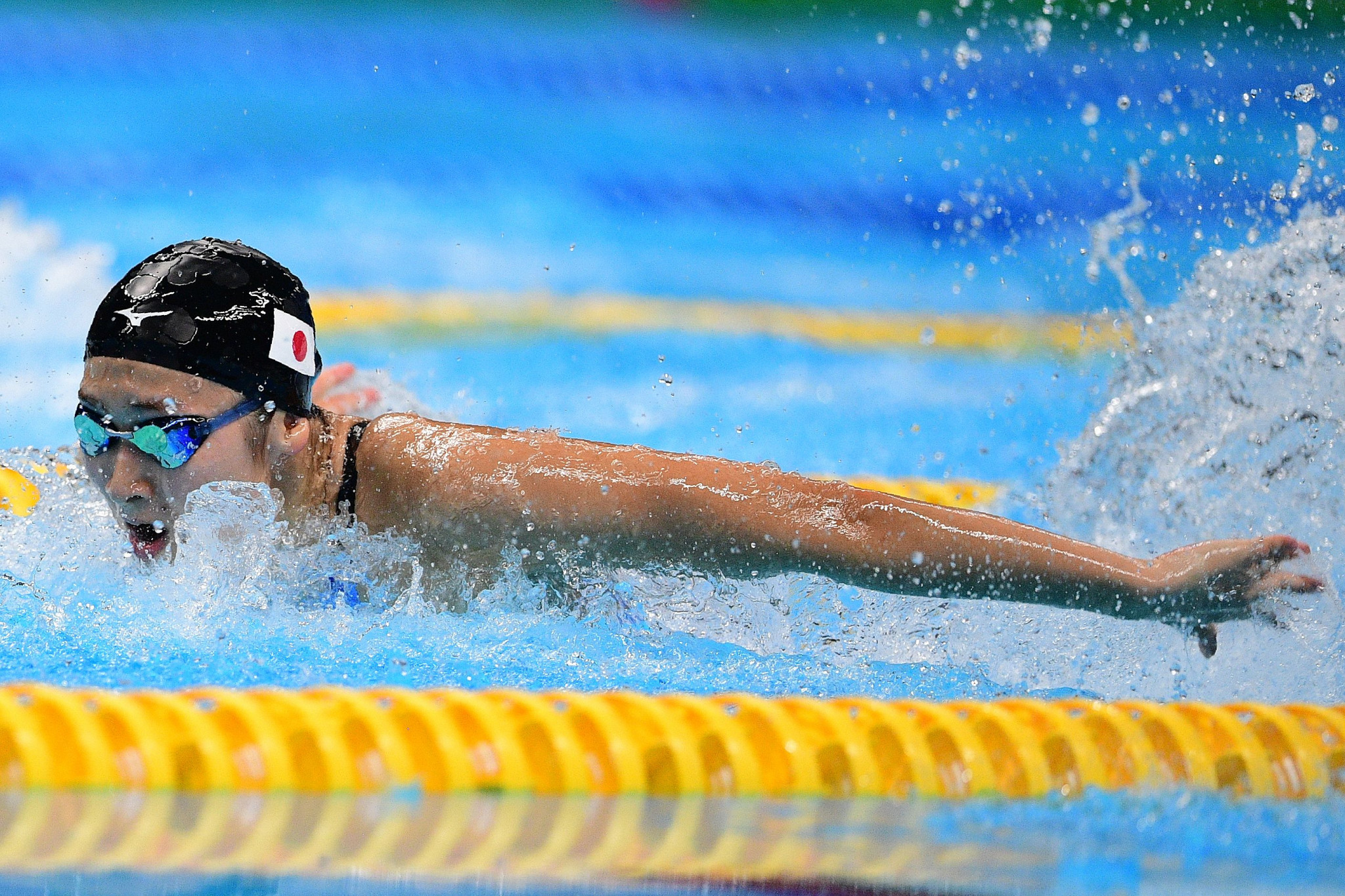 Japan's Rikako Ikee claimed three gold medals in the pool, including that from the women's 50 metres butterfly event in a Games record time ©Getty Images