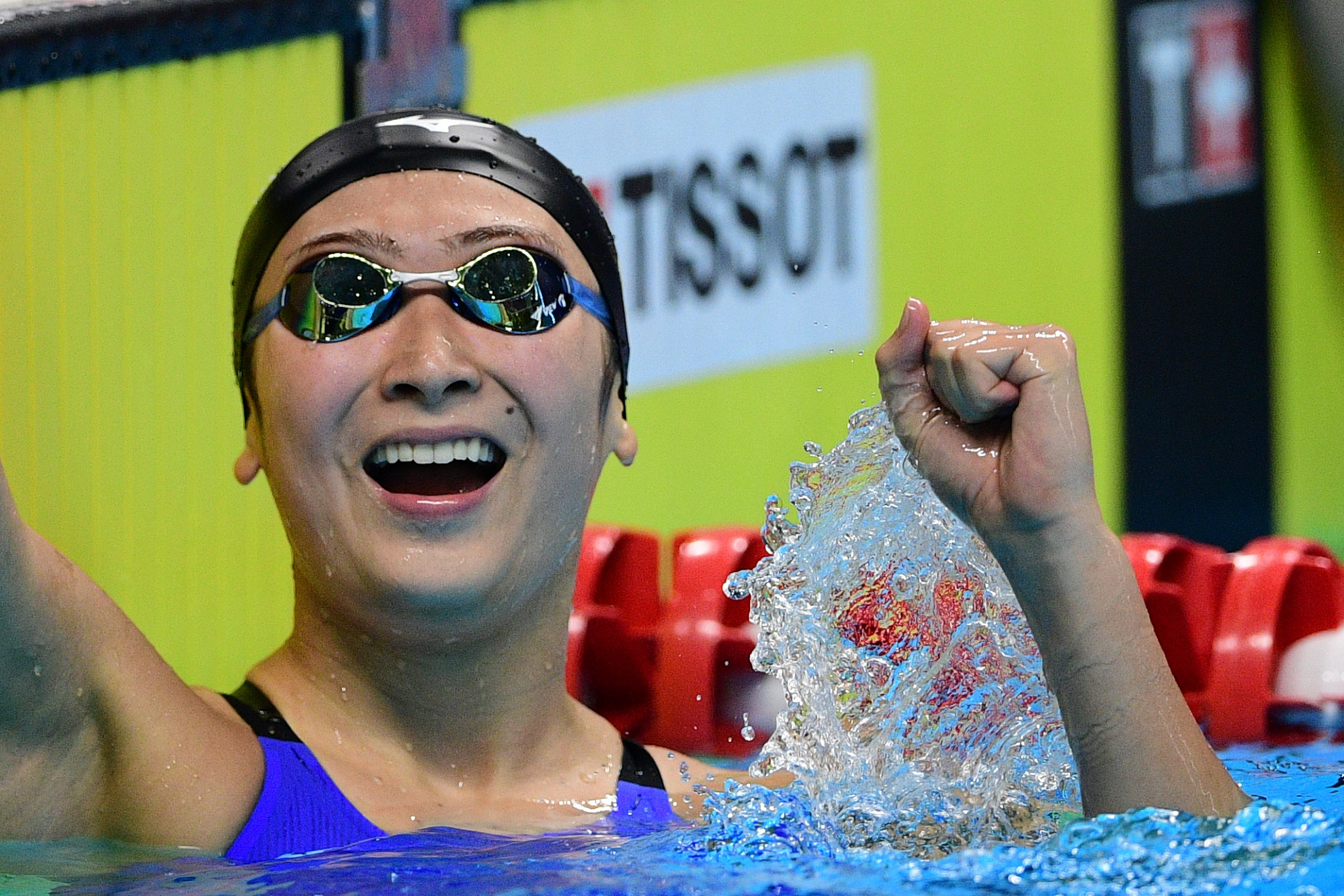 Japan's Rikako Ikee won two golds and set two Games records, at the GBK Aquatics Centre ©Getty Images