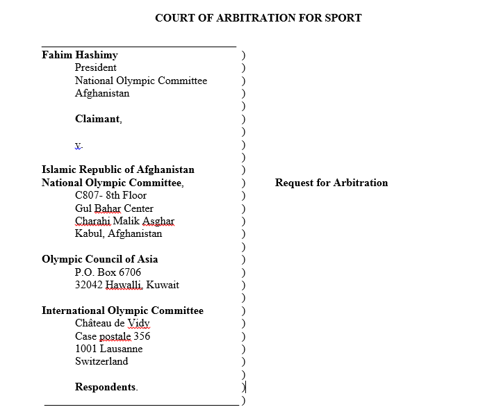 The first page of Fahim Hashimy's claim against A-NOC, the OCA and the IOC sent to the Court of Arbitration for Sport ©ITG