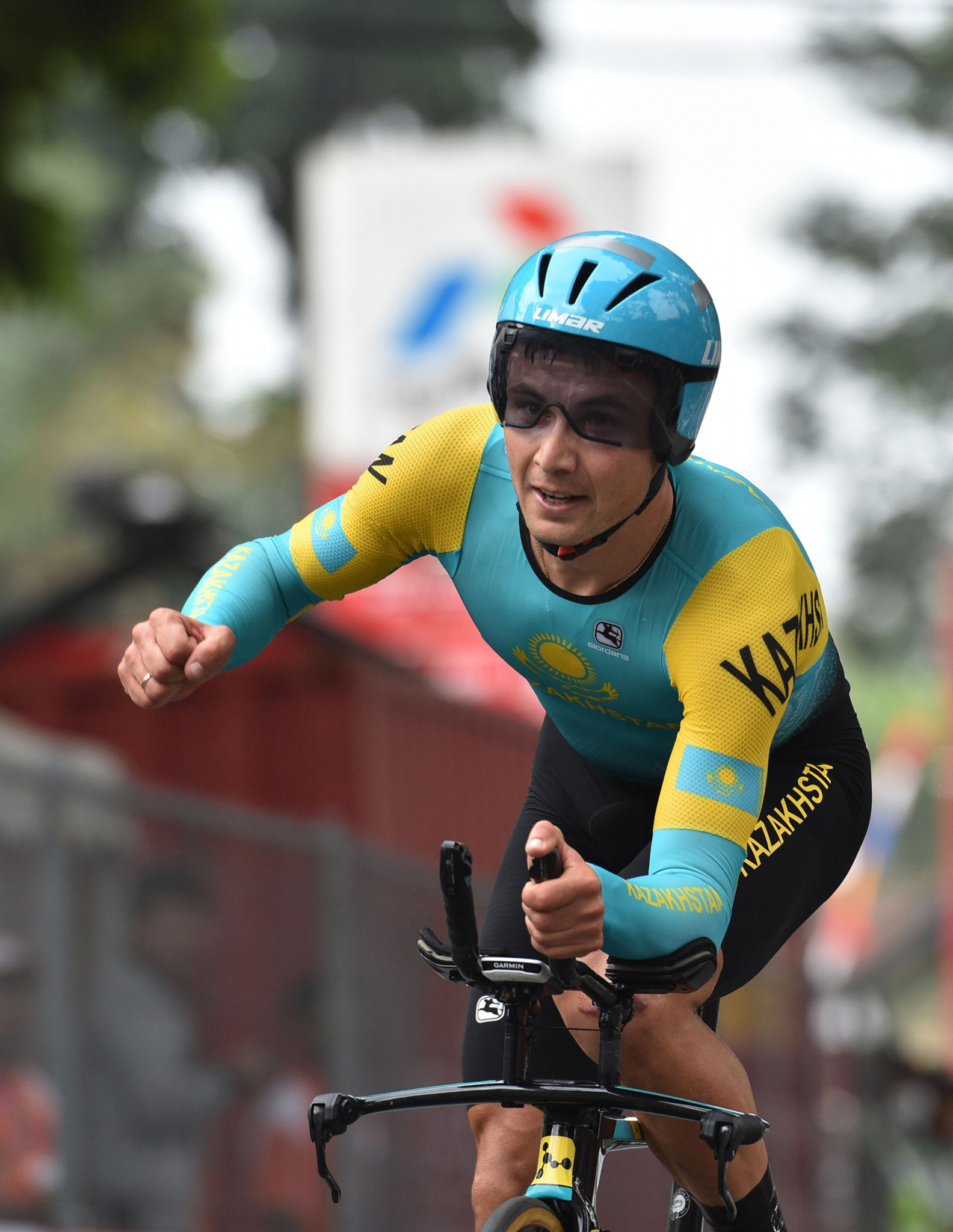 Alexey Lutsenko won the men's time trial to complete an unprecedented double ©Getty Images