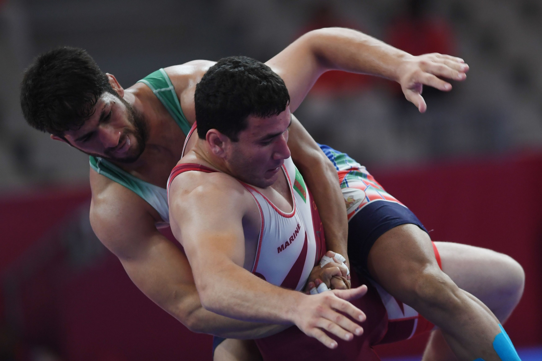 Rustem Nazarov's compatriot Shyhazberdi Ovelekov won a bronze medal in the men's Greco-Roman 87kg category at the 2018 Asian Games ©Getty Images