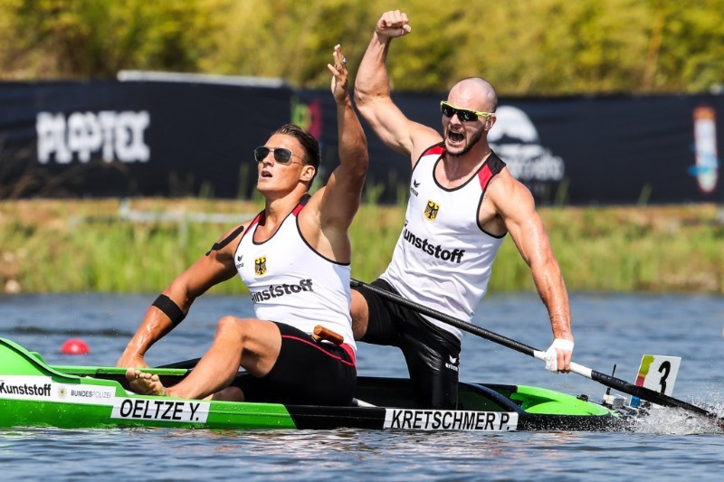 Germany's Yul Oeltze and Peter Kretschmer became the first pair to defend a C2 1,000 metres world title for almost two decades ©ICF