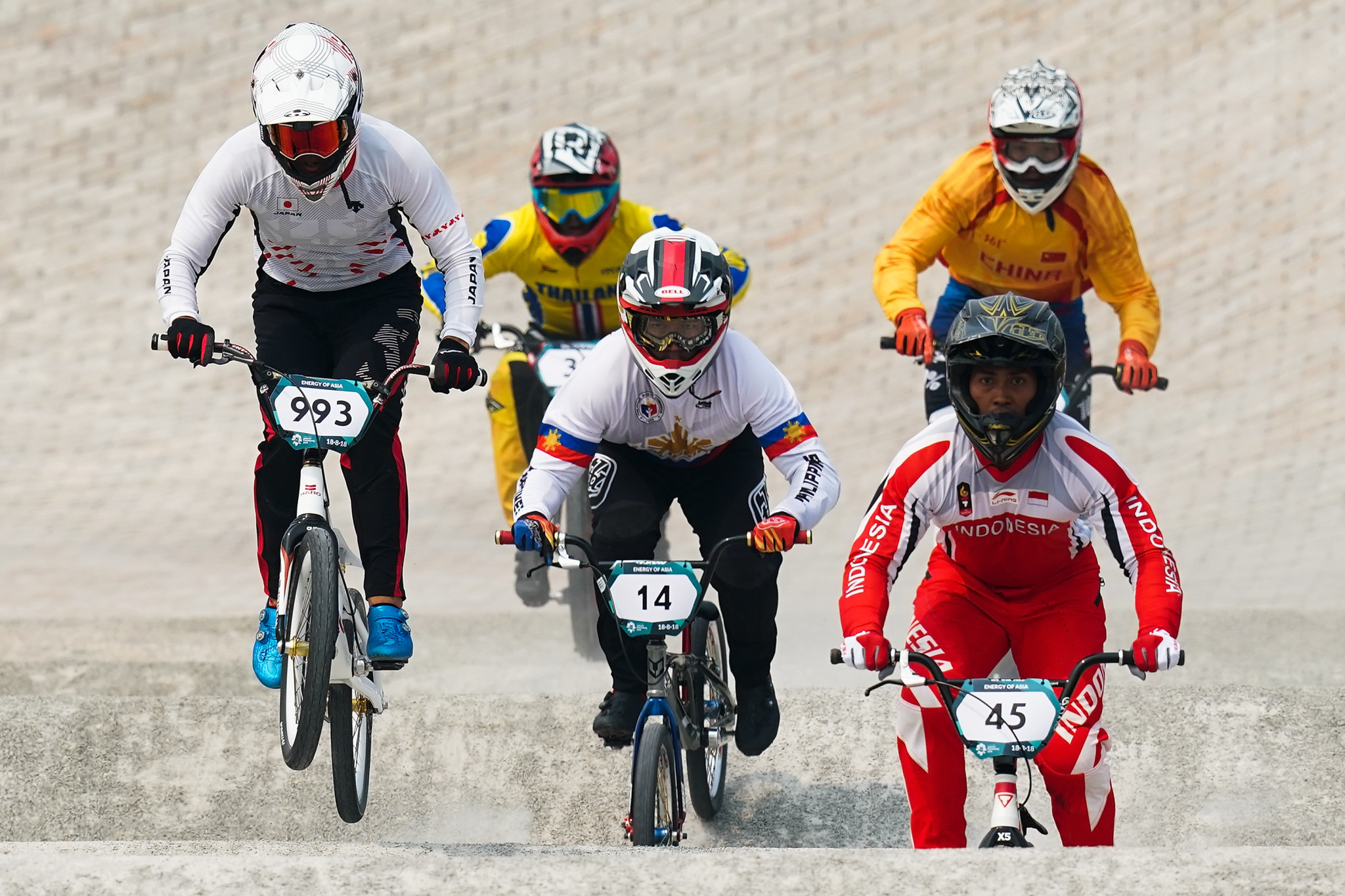 Medals were awarded today in BMX cycling with Japan's Yoshitaku Nagasako, left, taking victory in the men's competition ©Getty Images