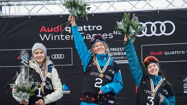 Russia's Anastasia Tatalina won the women's freestyle skiing big air gold today at the Junior Freestyle Ski and Snowboard world championships in New Zealand ©FIS