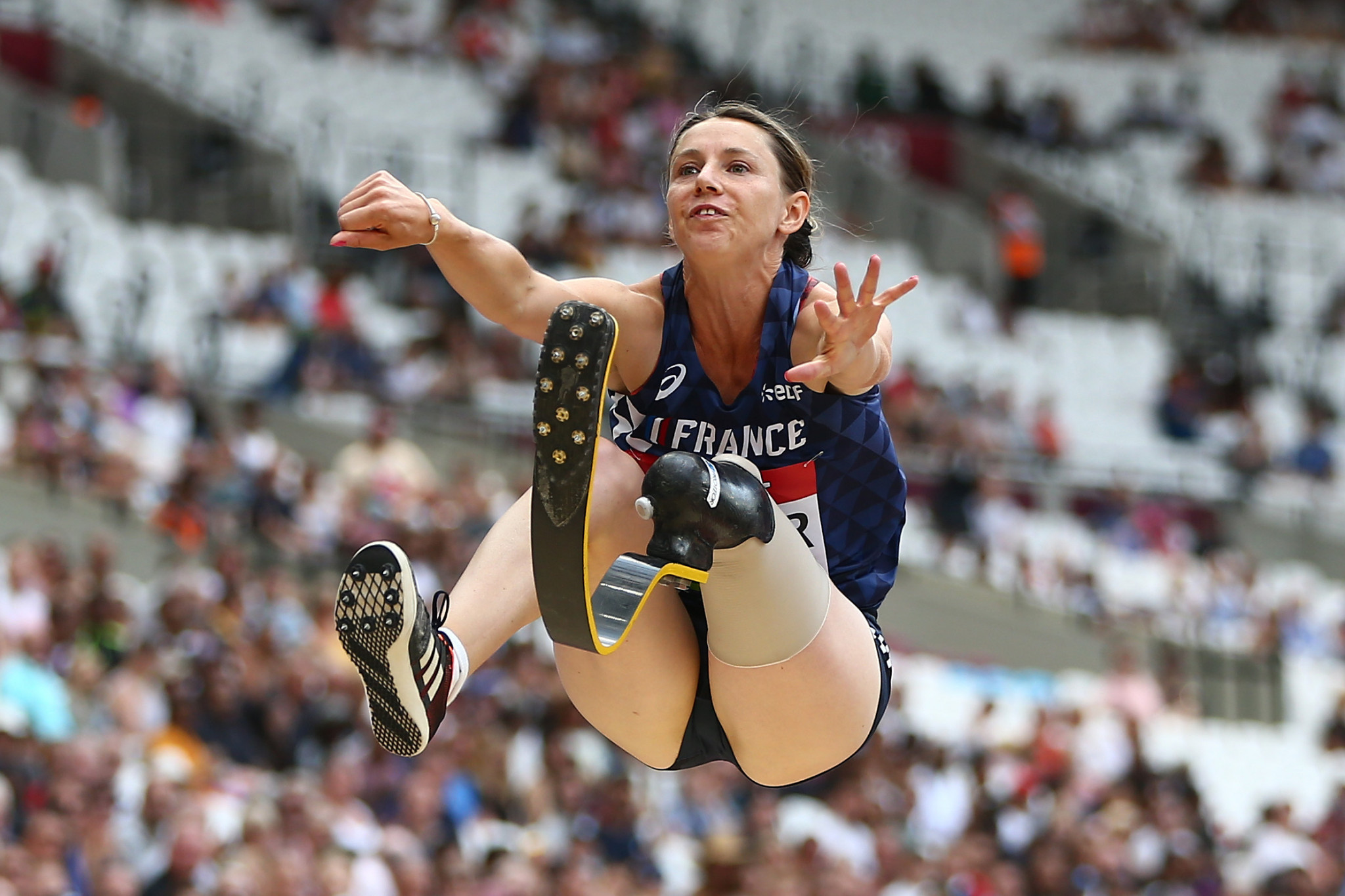 Marie-Amelie Le Fur of France set a world record of 6.01m in the T64 long jump in Berlin ©Getty Images