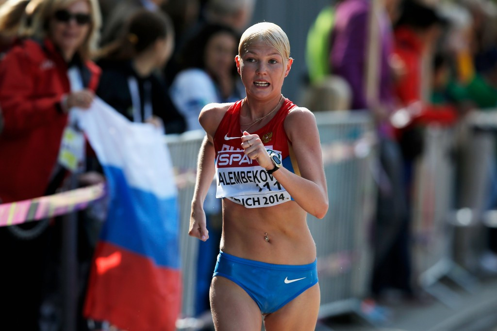 Elmira Alembekova, pictured en route to winning the 2014 European title, is among six athletes to have failed tests ©Getty Images