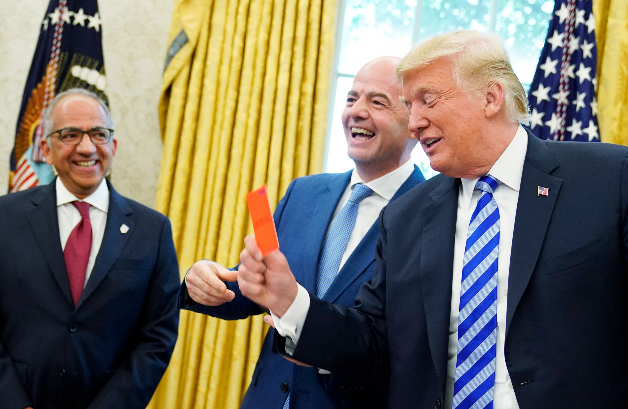 US President Donald Trump has met with FIFA President Gianni Infantino at the White House ©Getty Images