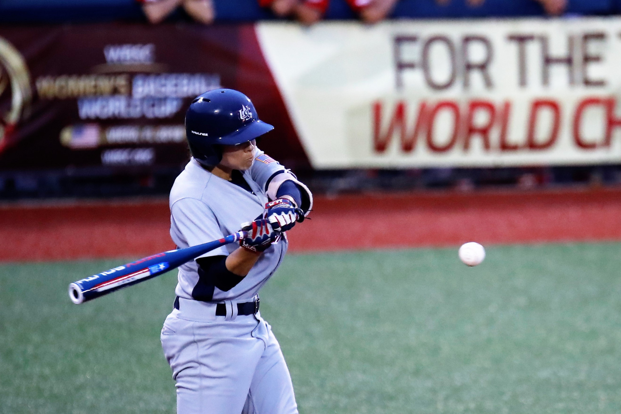 Jade Gortarez's home run helped the US to beat Canada 5-1 and keep in the hunt for the second spot in the final ©WBSC