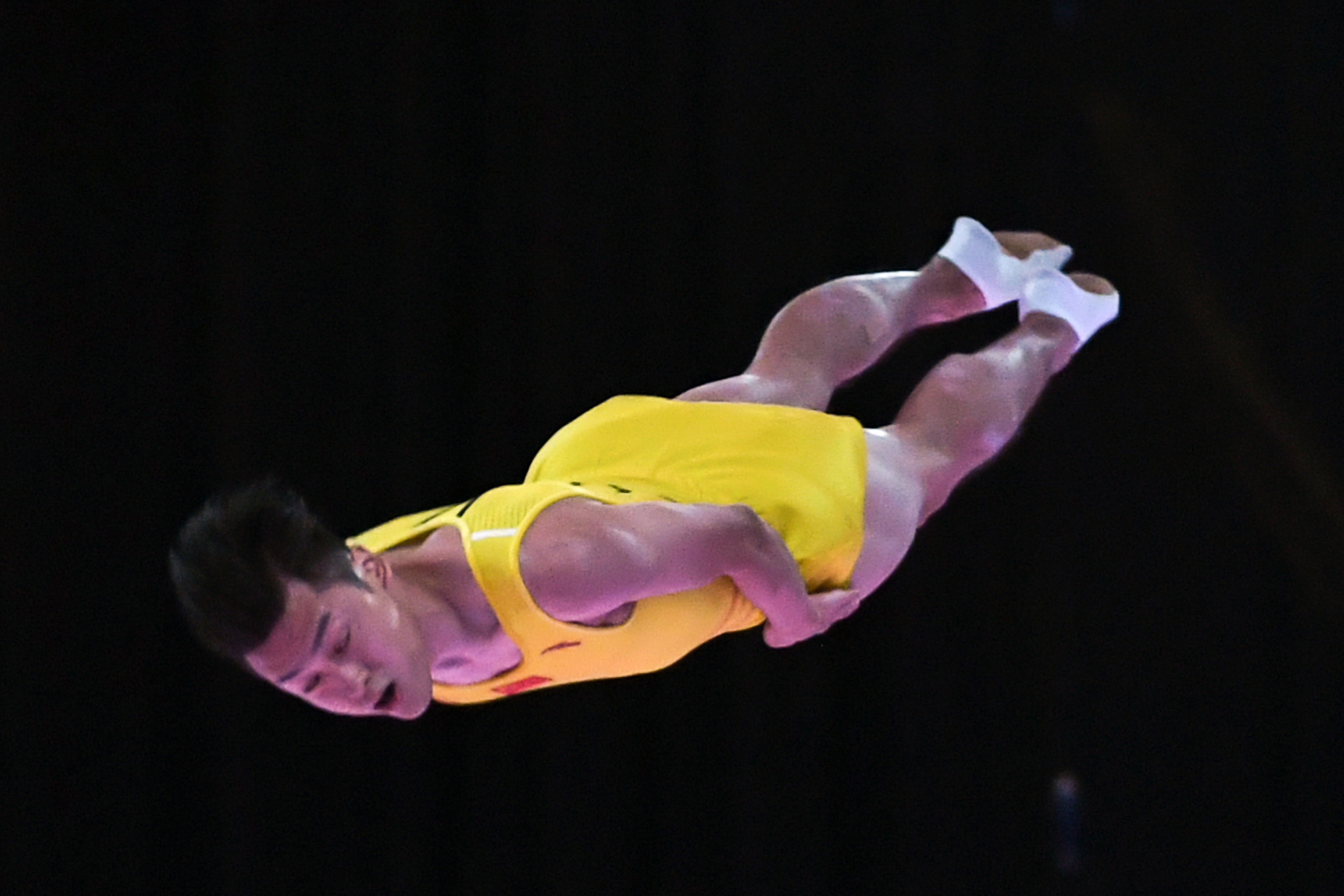 Dong Dong today became the first man to win any gymnastics event at the Asian Games three times in succession, in the men's trampoline final ©Getty Images
