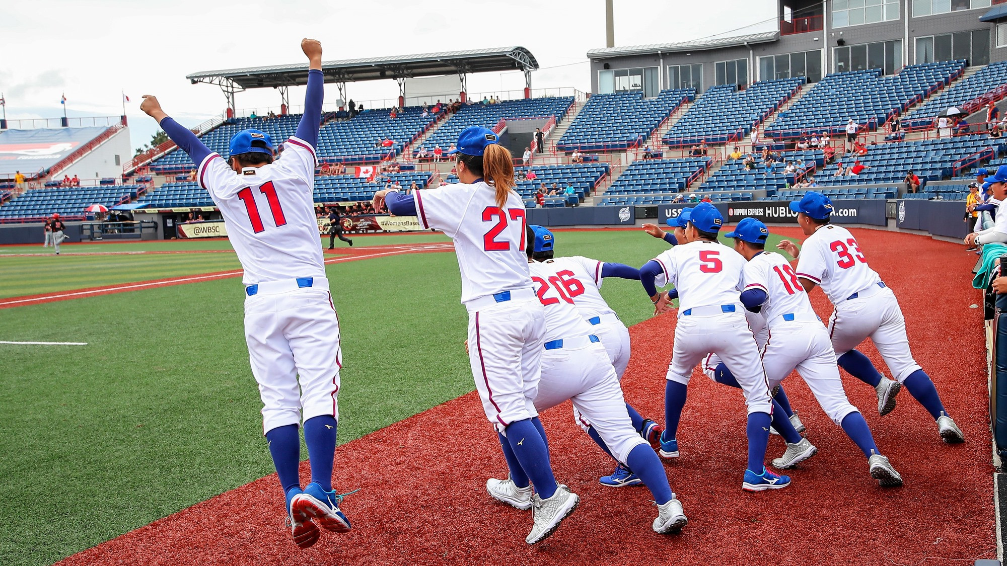 Chinese Taipei celebrate their historic win as they earn a place in their first ever Women's Baseball World Cup Final ©WBSC