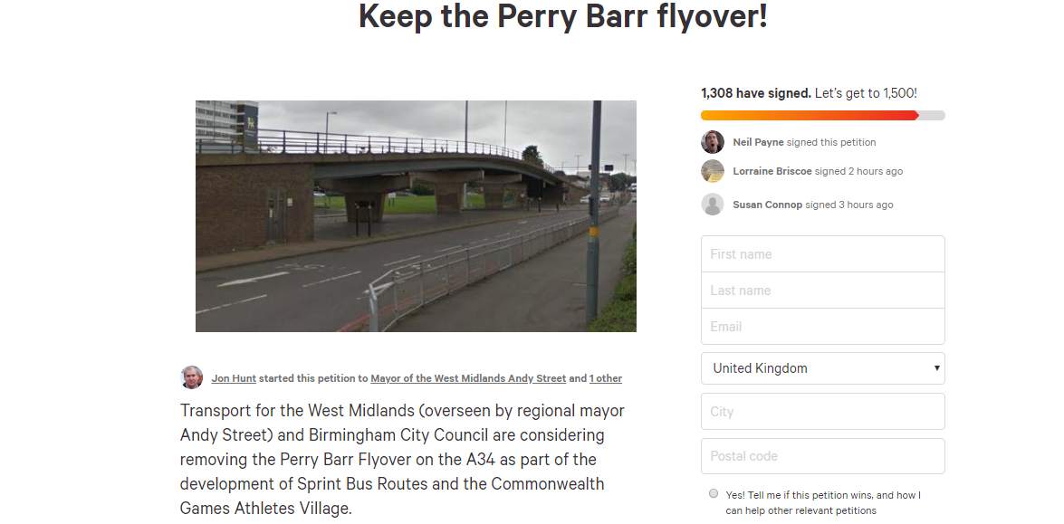 A petition has been set-up to keep the Perry Barr flyover ©Change.org