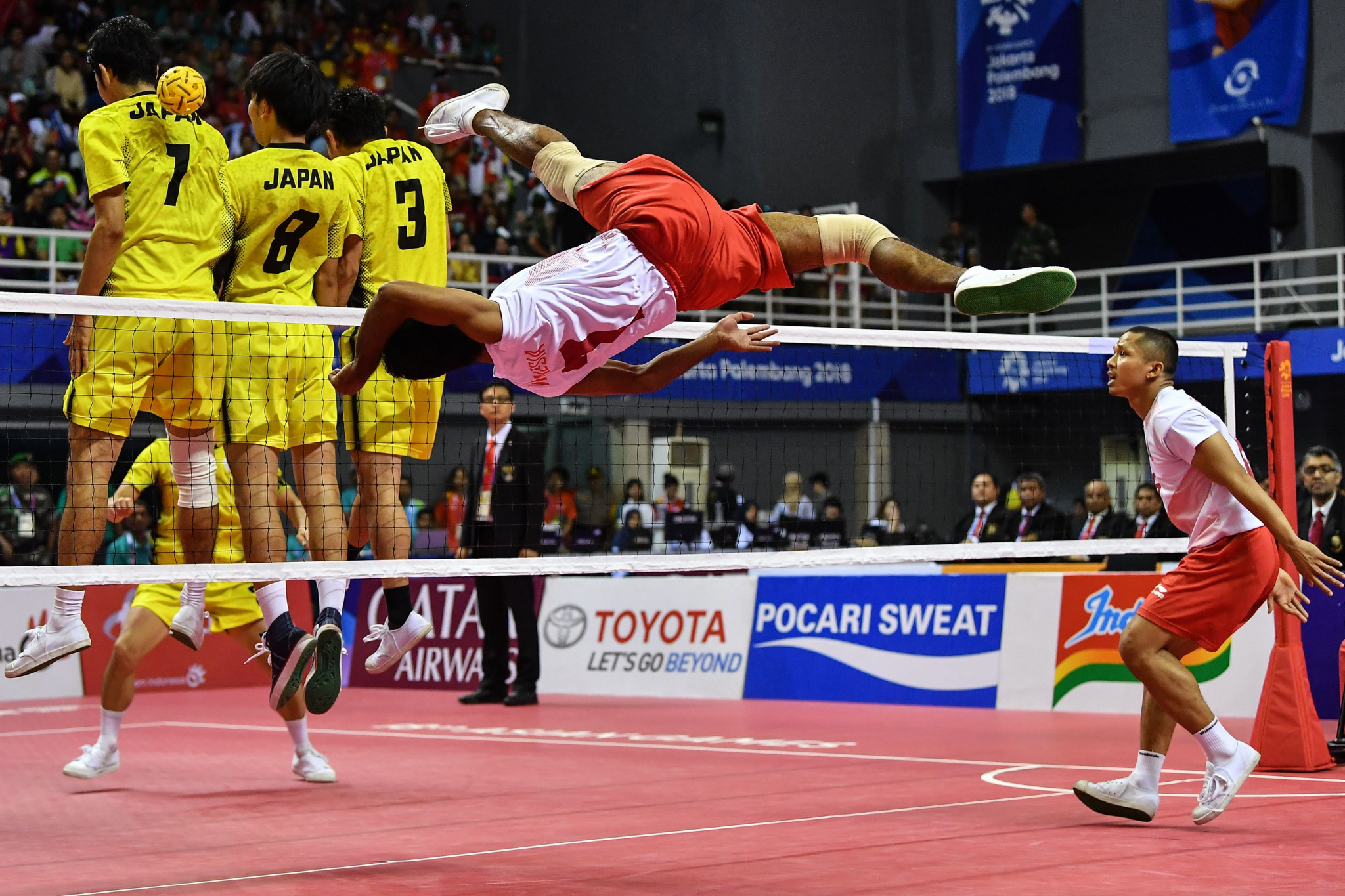 Indonesia's men's quadrant sepaktakraw team, in white, won their final against Japan to gain the country's 31st gold medal of the Games ©Getty Images
