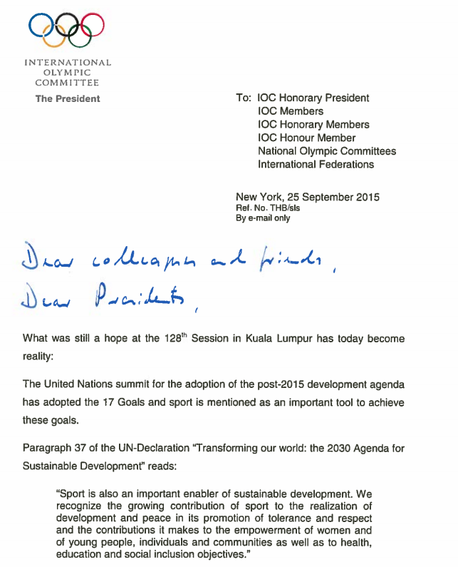 The first page of a letter sent by Thomas Bach to Olympic Movement stakeholders ©IOC