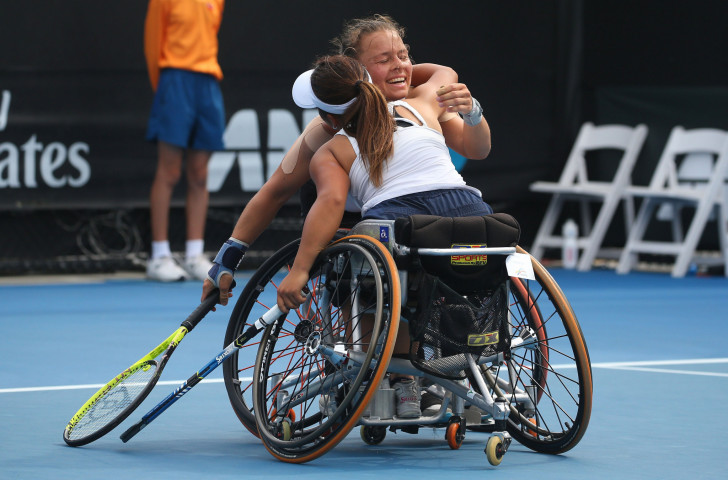 Marjolein Buis of the Netherlands, pictured celebrating her Australian Open doubles title win with Japan's Yui Kamiji earlier this year, combined with compatriot Aniek Van Koot to win the US Open title ©Getty Images