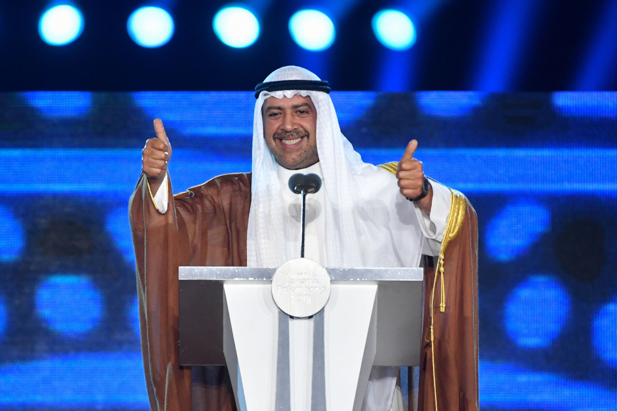 Olympic Council of Asia President Ahmad Al-Fahad Al-Sabah declared the Games officially over ©Getty Images