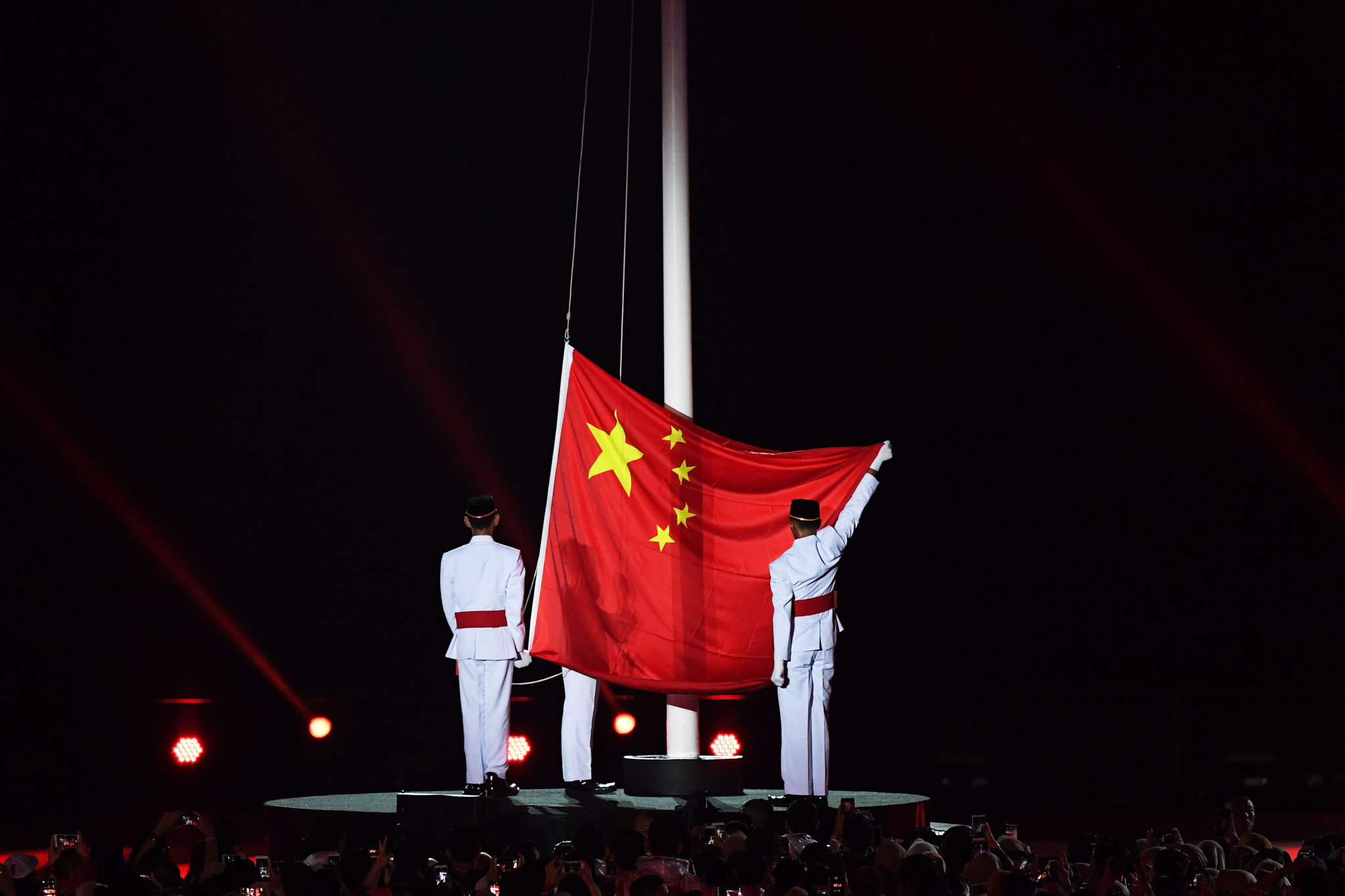 The Chinese national flag was hoisted as part of proceedings ©Getty Images