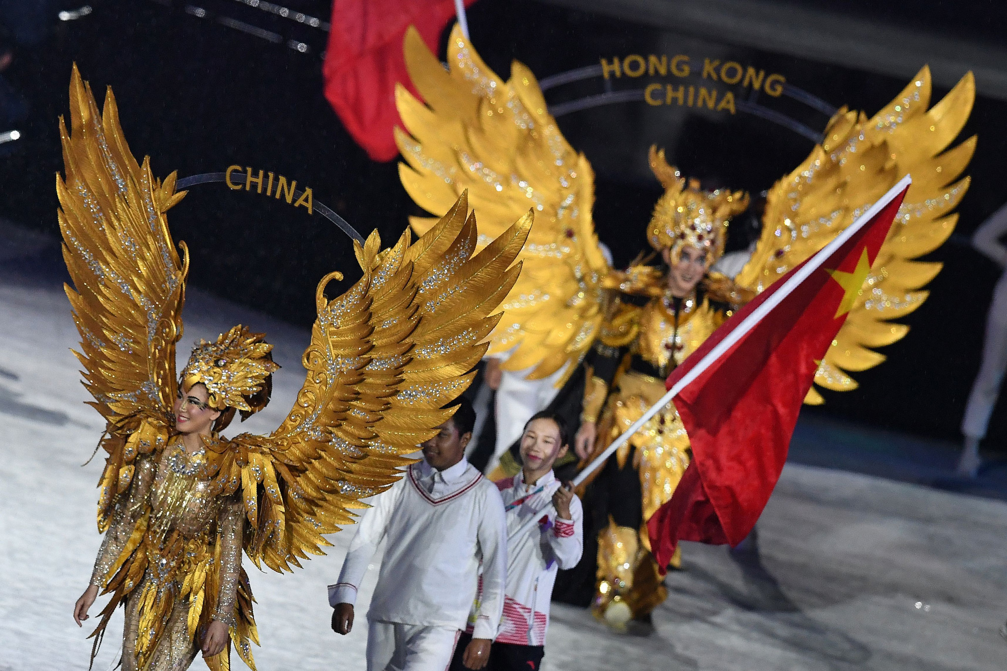 China, who topped the 2018 Asian Games medal table with 132 golds, earlier took part in the flag parade along with the other 44 competing nations ©Getty Images
