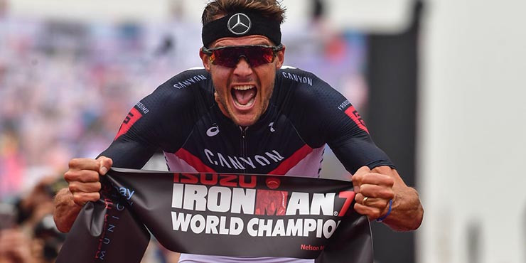 cb7f743b2f51f Germany s Jan Frodeo celebrates his second Ironman 70.3 world title win in  South Africa ©ironman