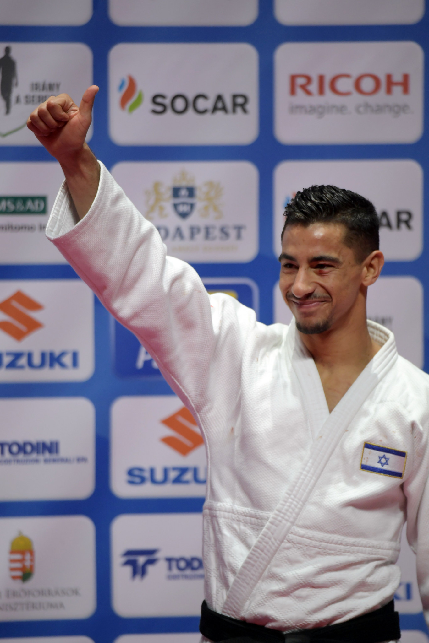 Tal Flicker's gold medal in Abu Dhabi last year came with Israel's flag and national anthem banned ©Getty Images