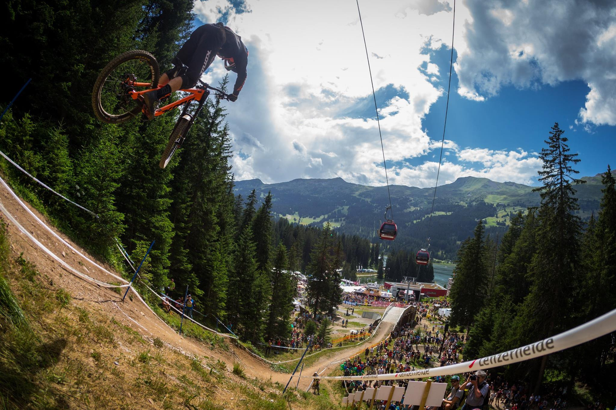 British riders Rachel Atherton and Tahnée Seagrave are favourites in the women's elite downhill event that will take place on the last day of the UCI Mountain Bike World Championships starting at Lenzerheide, pictured, in Switzerland ©UCI