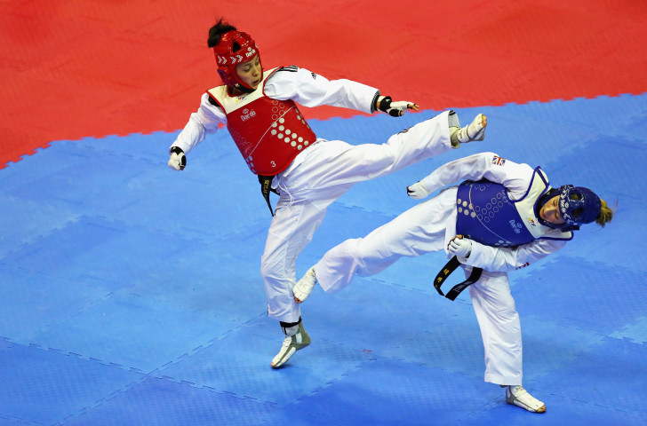 Canada's Skylar Park, left, pictured in action against Britain's world and Olympic champion Jade Jones, is reflecting upon two valuable Grand Prix appearances this season ©Getty Images