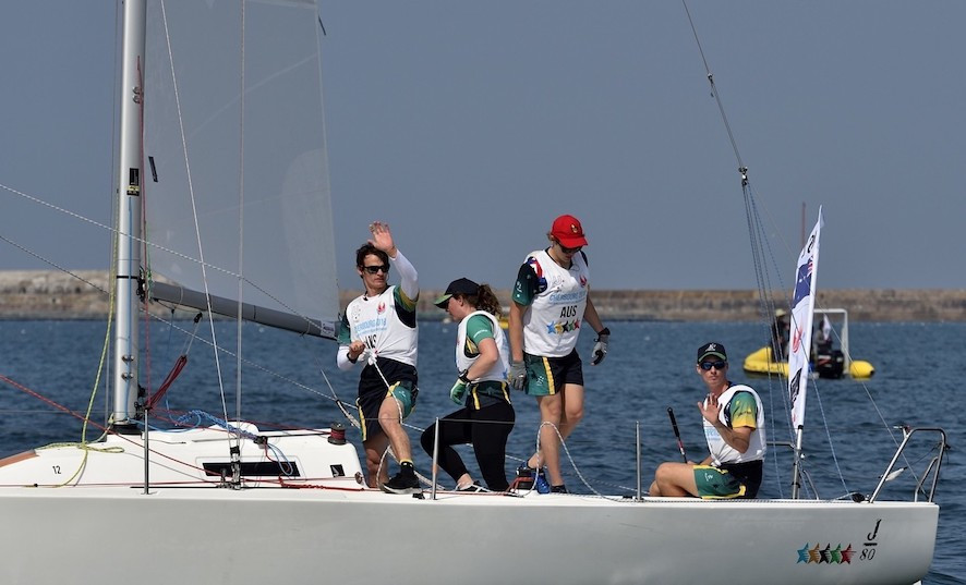 Australia 2, skippered by Thomas Grimes, dropped to second after the first day of final racing at the FISU World Sailing Championships - but they trail France 2 by only three points going into the final day in Cherbourg's huge artificial harbour ©FISU