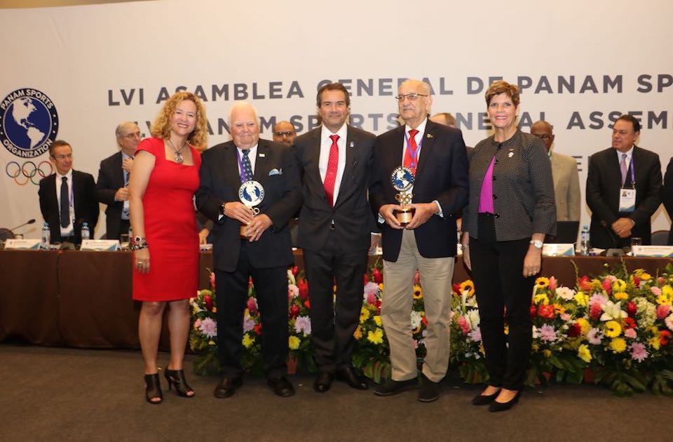 Fennell and Stoute presented with Panam Sports Award to recognise long service to sport
