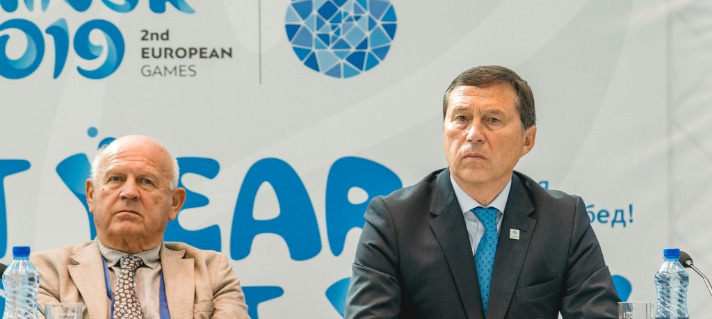 EOC President Janez Kocijančič, left, indicated earlier this year that the organisation would be open to multiple cities and countries working together to stage the 2023 European Games ©Minsk 2019