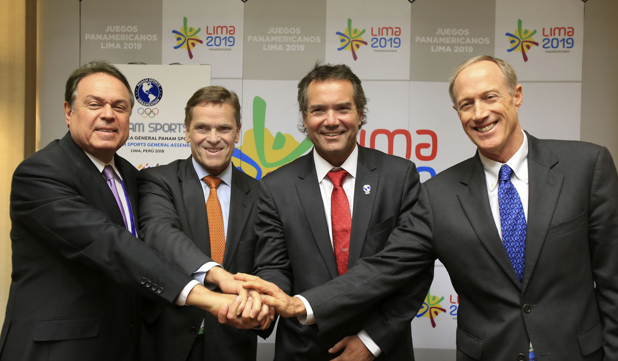 Panam Sports President Neven Ilic, third left, claimed they could not wait to secure Puerto Viejo ©Panam Sports