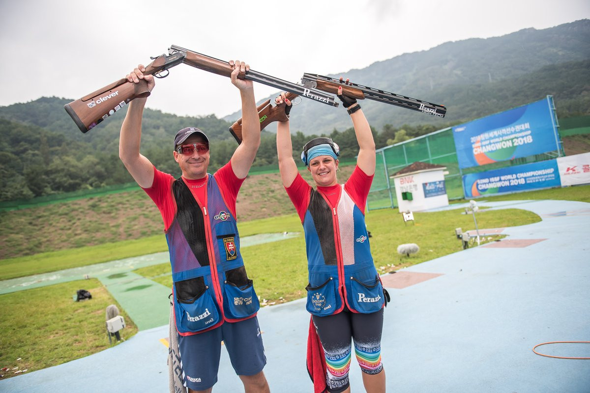 Slovakia's mixed trap team won World Championship gold and an Olympic quota place ©ISSF
