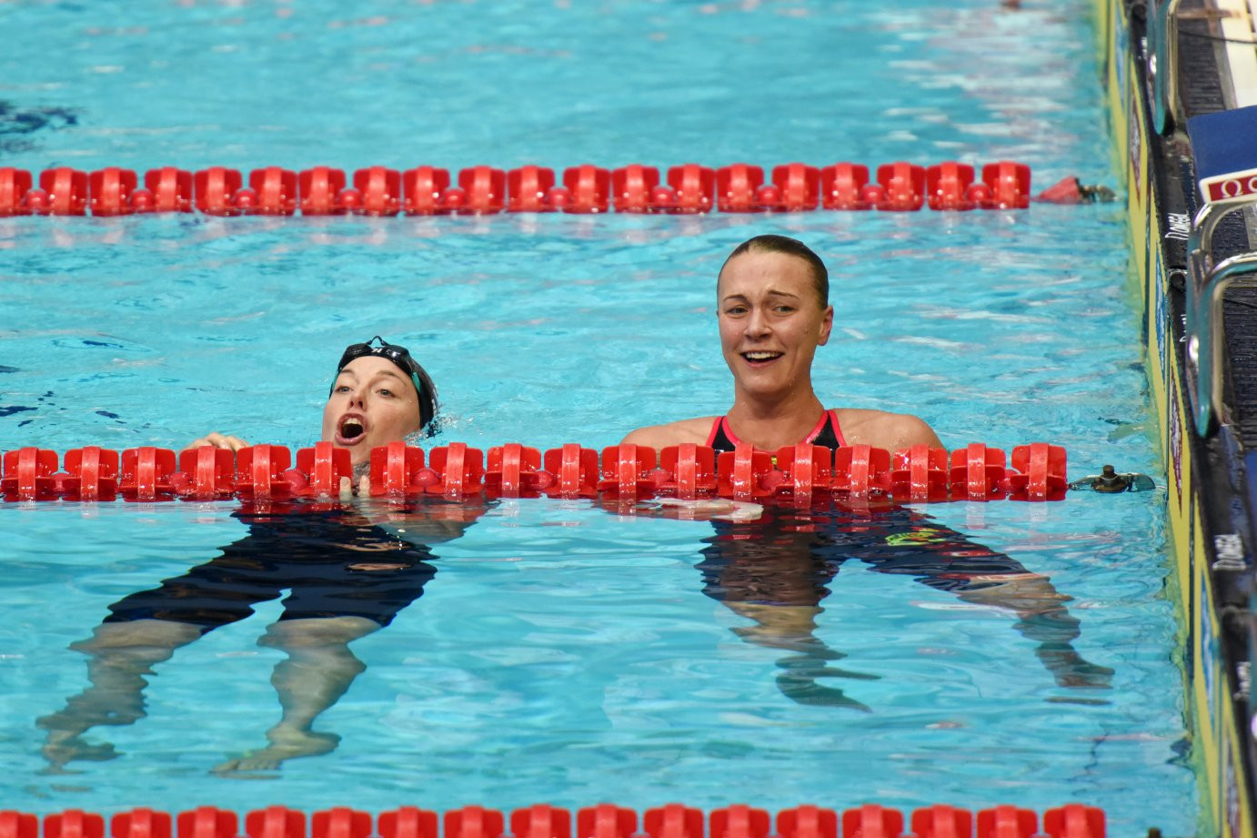 Sweden's defending overall World Cup champion Sarah Sjostrum, right, set a World Cup record in winning the 100m freestyle at Kazan in Russia today ©Getty Images