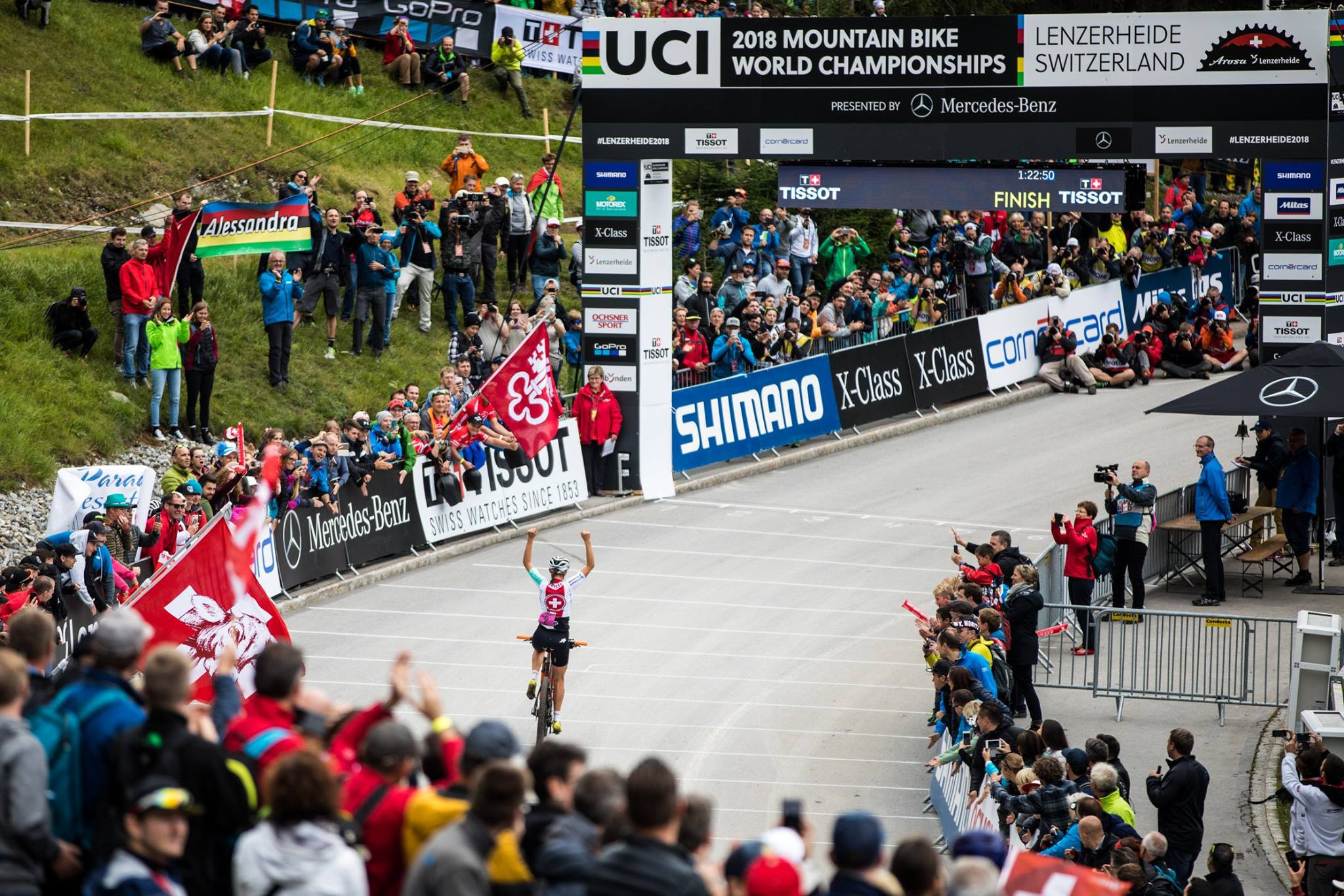 Home rider Alessandra Keller wins cross-country under-23 gold at the UCI Mountain Bike World Championships in Switzerland ©UCI