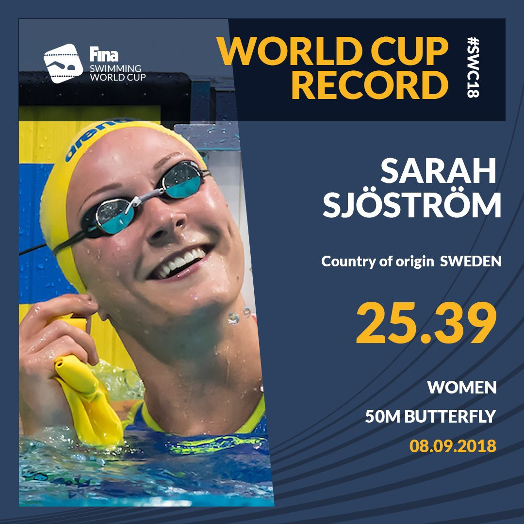 Some of swimming's biggest stars, including Sweden's multiple world record holder Sarah Sjostrom, featured on day two of the FINA World Cup in Kazan ©FINA