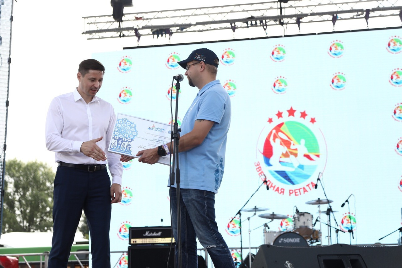 "Aliaksandr Bahdanovich, left, has been named as a ""star ambassador"" for the 2019 European Games in Minsk ©Minsk 2019"
